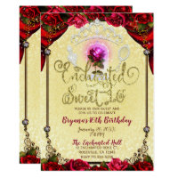 Enchanted Magical Rose Beauty & The Beast Sweet 16 Card