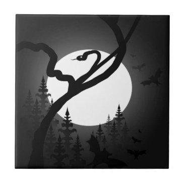 Halloween Themed Enchanted Night Ceramic Tile