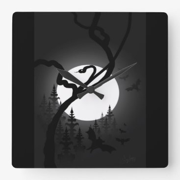 Halloween Themed Enchanted Night Square Wall Clock