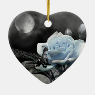 Enchanted Nights blue Double-Sided Heart Ceramic Christmas Ornament