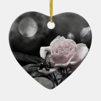Enchanted Nights Pink Double-Sided Heart Ceramic Christmas Ornament