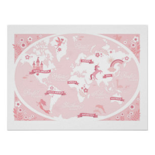 World Map Nursery Posters Prints Zazzle - Pink world map poster
