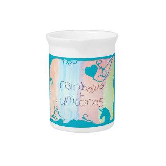 Enchanted rainbow and unicorn fairytale beverage pitchers