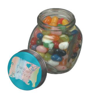 Enchanted rainbow and unicorn fairytale jelly belly candy jar