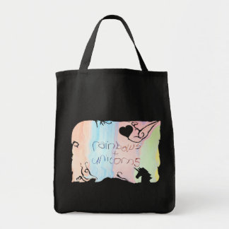 Enchanted rainbow and unicorn fairytale tote bag