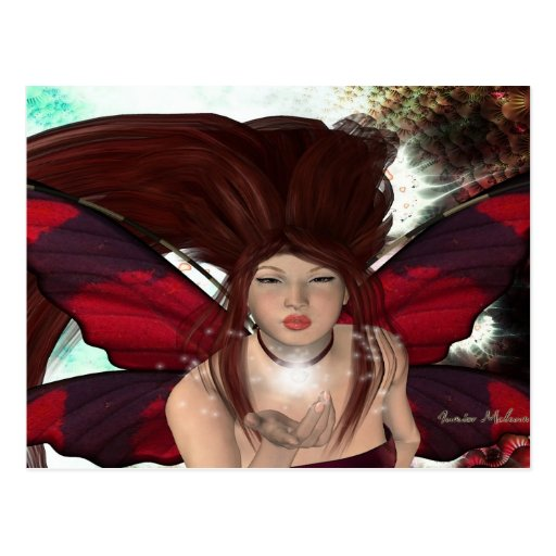 Enchanted Red Faerie Postcard