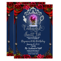 Enchanted Red Rose Beauty & The Beast Sweet 16 Card