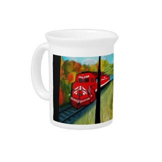 Enchanted Red Train Passage - Dreamy Mirage Drink Pitcher