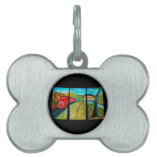 Enchanted Red Train Passage - Dreamy Mirage Pet Tag