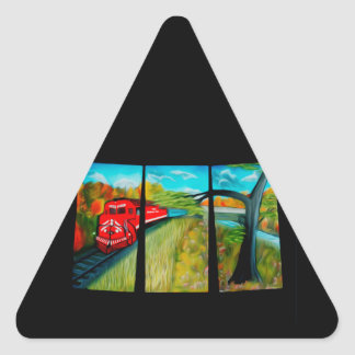 Enchanted Red Train Passage - Dreamy Mirage Triangle Sticker