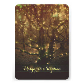 Enchanted romantic forest lights rustic wedding invitations