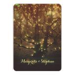 "Enchanted romantic forest lights rustic wedding 5"" x 7"" invitation card"