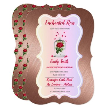 Wedding Themed ENCHANTED ROSE Birthday Invitation Fairytale