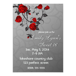 Enchanted Roses Birthday 5.5x7.5 Paper Invitation Card