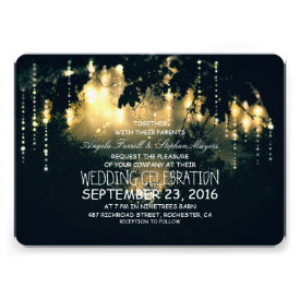 Enchanted string lights trees wedding invitations card