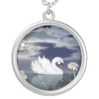 enchanted swan silver necklace - swan