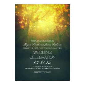 Enchanted Trees & Lights Rustic Wedding Invite