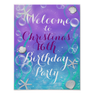 Enchanted Under The Sea Beach Welcome Table Sign Poster