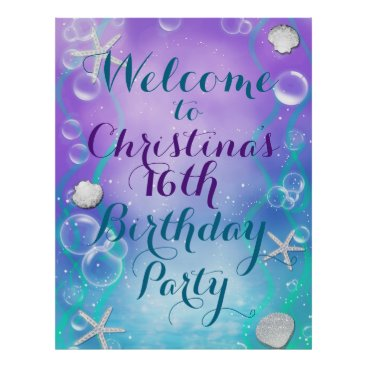 Beach Themed Enchanted Under the Sea Custom Party Banner Poster