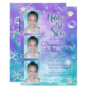 Beach Themed Enchanted Under the Sea Purple Teal 3 Photo Party Card