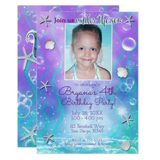 Enchanted Under the Sea Purple Teal Photo Party Card