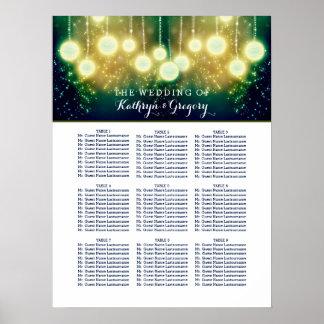 Enchanted Wedding Seating Chart With Lanterns Poster