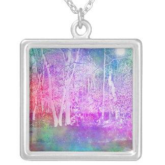 Enchanted Wood Square Pendant Necklace