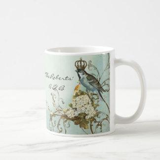 Enchanted Woodland Birds Dove Swirl Personalized Coffee Mug