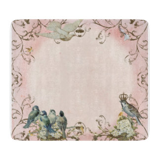 Enchanted Woodland Birds Dove Swirl Personalized Cutting Boards