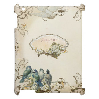 Enchanted Woodland Birds Dove Swirl Personalized iPad Cover