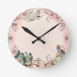 Enchanted Woodland Birds Dove Swirl Personalized Round Clock