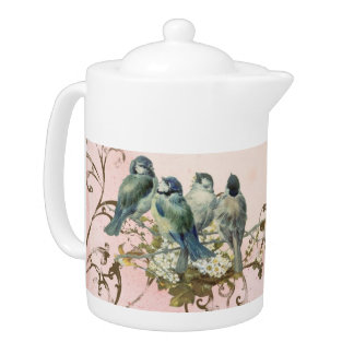 Enchanted Woodland Birds Dove Swirl Personalized Teapot