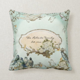 Enchanted Woodland Birds Dove Swirl Personalized Throw Pillow