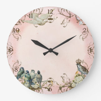 Enchanted Woodland Birds Dove Swirl Personalized Wall Clocks