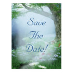 Enchanted Woodland Forest Save The Date Wedding Postcard