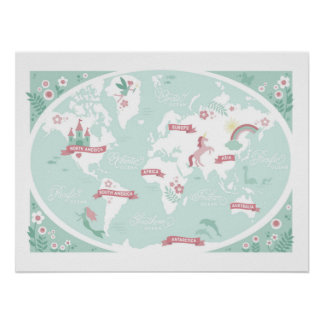 Enchanted World Map - Children's Art Poster