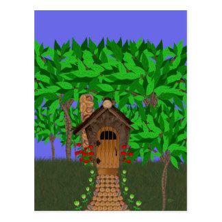 Enchanting Birdhouse Cottage Postcard