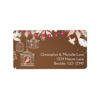 Enchanting Birds, Cages, Lights and Flower Garden Label
