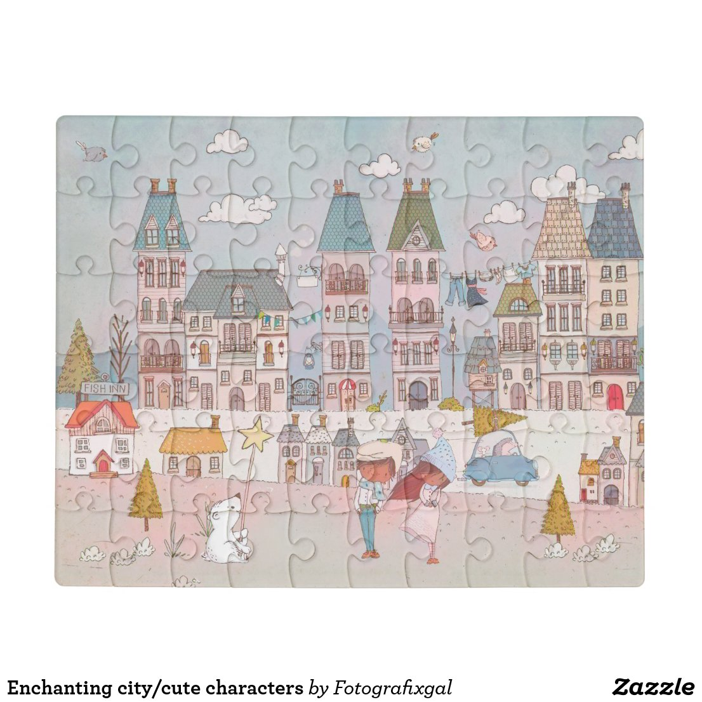 Enchanting city/cute characters jigsaw puzzle