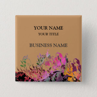 Enchanting Flowers Business Name Tag Button