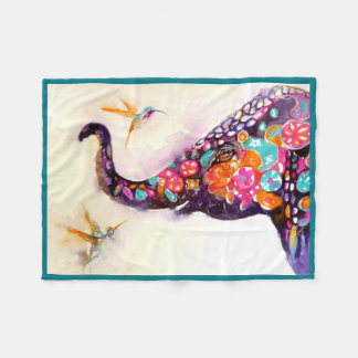 """Enchanting Friends"" Hummingbird & Elephant Fleece Blanket"