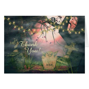 Halloween Themed Enchanting Graveyard and Flower Lights Thank You Card