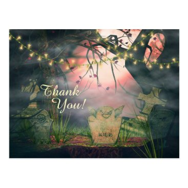 Halloween Themed Enchanting Graveyard and Flower Lights Thank You Postcard