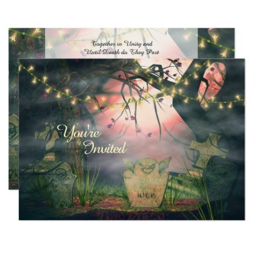 Halloween Themed Enchanting Graveyard and Lights Wedding Invitation