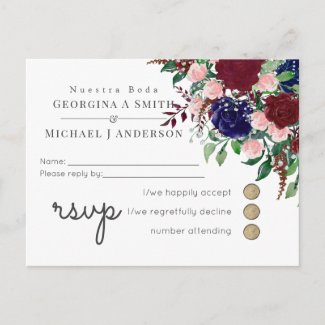 Enchanting Marsala Navy Blue Pink Wedding Invitation Postcard