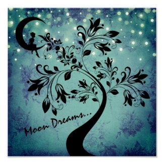 Enchanting Moon Dreams Girl and Flower Tree Poster