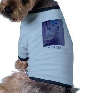 Enchanting Mykonos Greece View with Stairs Dog Tshirt