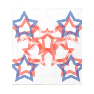 ENCHANTING RED WHITE & BLUE STAR PATTERN NOTE PAD