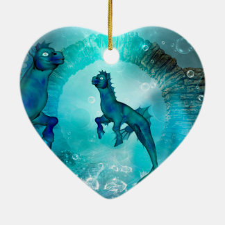 Enchanting seahorse in a fantasy underwater world ceramic ornament