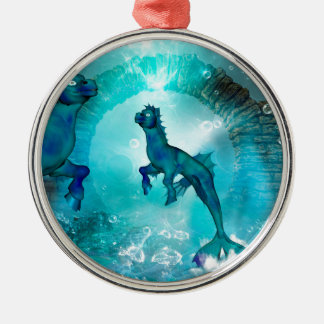 Enchanting seahorse in a fantasy underwater world metal ornament